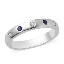 Rhapsody AAAA Tanzanite (0.10 Ct) and Diamond 950 Platinum Ring  0.200  Ct.