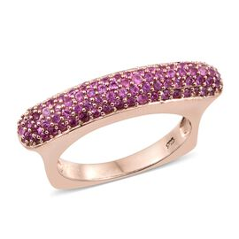 1.75 Ct Pink Sapphire Cluster Ring in Rose Gold Plated Silver 6.74 Grams