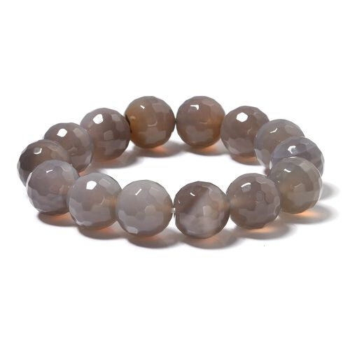 Extremely Rare Size Grey Agate (Rnd 15mm) Strechable Bracelet (Size 6.5-9) 320.000 Ct.