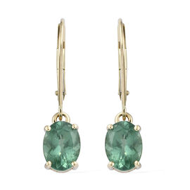 Limited Available- 9K Yellow Gold AA Teal Apatite (Ovl) Lever Back Earrings 2.750 Ct.
