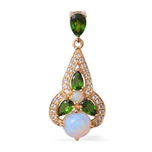 Ethiopian Welo Opal (Pear and Rnd), Russian Diopside and White Topaz Pendant in Yellow Gold Overlay