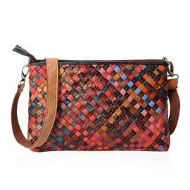 MOROCCO COLLECTION Hand Woven 100% Genuine Leather Multi Colour Sling Bag with Removable Shoulder St