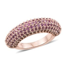Designer Inspired- Pink Sapphire (Rnd), Natural Cambodian Zircon Cluster Ring (Size O) in Rose Gold Overlay S