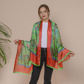 Red and Green Garden Pattern 100% Mulberry Silk Scarf (Size 175x110 Cm)