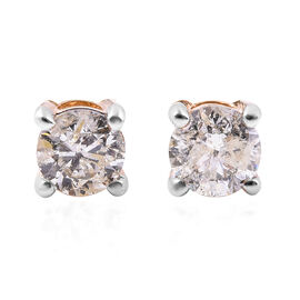 1 Carat Diamond Solitaire Stud Earrings with Screw Back in 14K Gold SGL Certified I1 I2 GH