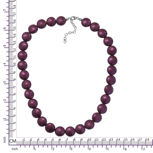 J Francis - Crystal From Swarovski  - Rhodolite Garnet  Pearl Crystal (Rnd) Necklace (Size 18 with 2 inch Extender) in Rhodium Overlay Sterling Silver