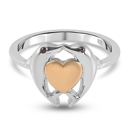 Yellow Gold and Platinum Overlay Sterling Silver Dolphins and Heart Ring