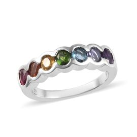 GP AA African Ruby (Ovl), Russian Diopside, Blue Sapphire and Multi Gemstone Ring in Platinum Overla
