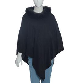 100% Pashmina Wool Black Colour Poncho (Size 70x70 Cm)