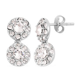 J Francis - Crystal from Swarovski White Crystal (Rnd) Earrings (with Push Back) in Rhodium Overlay