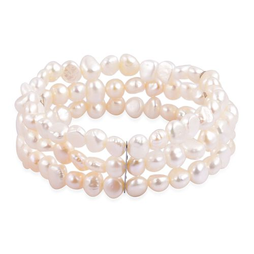 Double Shine - Fresh Water White Pearl Multi Strand Stretchable Bracelet (Size 7.5) in Stainless Steel