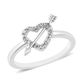 Diamond Heart with Arrow Ring in Platinum Overlay Sterling Silver