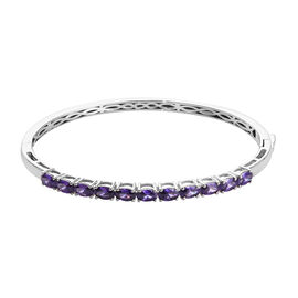 Simulated Amethyst Stacker Bangle in Platinum Plated 7.5 Inch