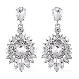 Designer Inspired Simulated Diamond and White Austrian Crystal Earrings in Silver Plated