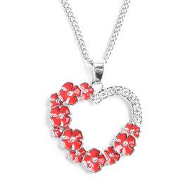 TJC Poppy Design - White Austrian Crystal Enamelled Poppy Open Heart Pendant With Chain (Size 26) in