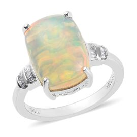 RHAPSODY 4.35 Ct AAAA Ethiopian Welo Opal and Diamond Ring in 950 Platinum 5.58 Grams VS EF