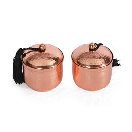 ROSE Set of 2 - Hammered Metal Candle Jar with Lid and Wax Inside (Size 6.8x6.8x8 Cm) - (Cinnamon Va