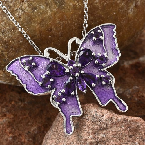 GP Amethyst and Kanchanaburi Blue Sapphire Purple Colour Enameled Butterfly Pendant with Chain in Platinum Overlay Sterling Silver 1.750 Ct. Silver wt 8.86 Gms.