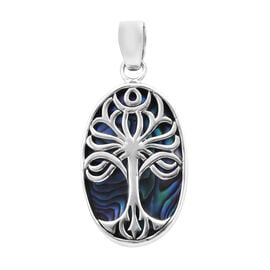 Abalone Shell Tree of Life Pendant in Sterling Silver