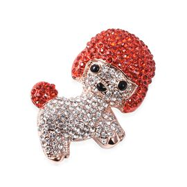 White and Red Austrain Crystal (Rnd) Enamelled Preety Dog Brooch in Rose Gold Tone