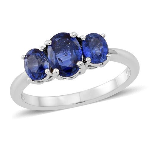 ILIANA 18K White Gold AAAA Ceylon Blue Sapphire (Ovl 1.00 Ct) 3 Stone Ring 2.000 Ct.