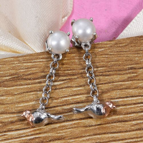 Freshwater Pearl (Rnd) Robin Bird Dangle Earrings (with Push Back) in Platinum and Rose Gold Overlay  Sterling Silver