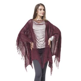Designer Inspired - Wine Red Colour Poncho (Free Size)