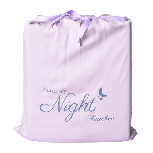 OTO - Serenity Night 4 Piece Set - 100% Bamboo Sheet Set Inclds. 1 Flat Sheet (275x265cm), 1 Fitted Sheet (150x200+30cm) & 2 Pillowcases (50x75cm) in Lavender - KING