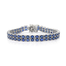 Kanchanaburi Blue Sapphire and Diamond Bracelet (Size 7.5) in Rhodium Overlay Sterling Silver 16.39