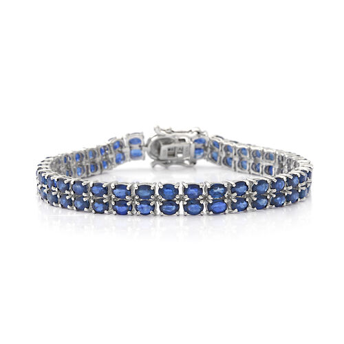 Kanchanaburi Blue Sapphire and Diamond Bracelet (Size 7.5) in Rhodium Overlay Sterling Silver 16.39