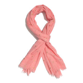Epic Deal 100% Cotton Salmon Pink Colour Polka Dots Foil Printed Scarf (Size 180x100 Cm)