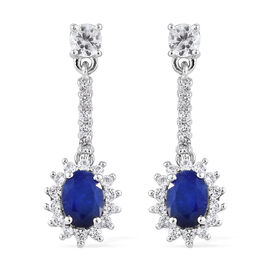 Blue Spinel (Ovl), Natural Cambodian Zircon Earrings (with Push Back) in Platinum Overlay Sterling Silver 3.250 Ct.