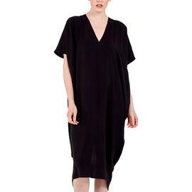 Nova of London Oversized V-Neck Back Slit Detail Midi Dress in Black