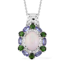 Ethiopian Welo Opal (Ovl 3.00 Ct), Russian Diopside and Tanzanite Pendant With Chain (Size 18) in Rhodium Overlay Sterling Silver   5.830 Ct, Silver wt 7.90 Gms.