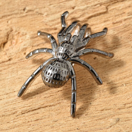 Platinum Overlay and Black Plating Sterling Silver Spider Pendant