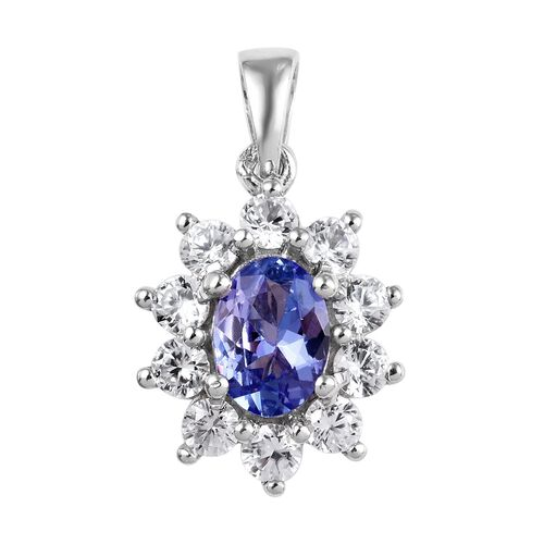Tanzanite and Zircon Halo Pendant in Platinum Plated Sterling Silver 1.75 Ct