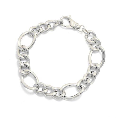 Viale Argento Rhodium Overlay Sterling Silver Figaro Bracelet (Size 8)