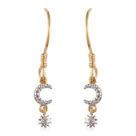 Diamond (Rnd) Moon Star Hook Earrings in Platinum and Yellow Gold Overlay Sterling Silver