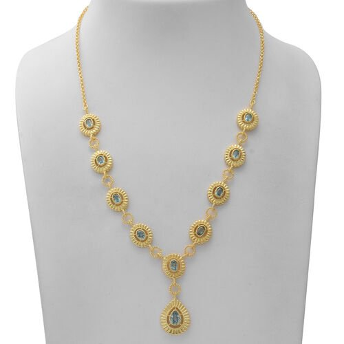 Ratanakiri Blue Zircon Necklace (Size 21) in Yellow Gold Overlay Sterling Silver 7.98 Ct, Silver wt. 28.60 Gms