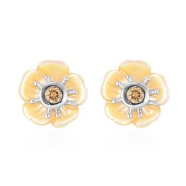 Yellow Mother of Pearl (4.00 Ct),Brazilian Citrine Sterling Silver Earring  4.250  Ct.
