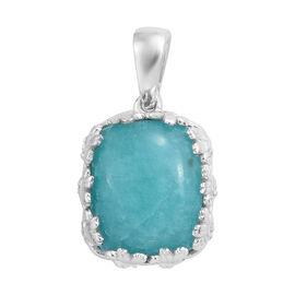 5 Carat Natural Peruvian Amazonite Solitaire Pendant in Platinum Plated Sterling Silver