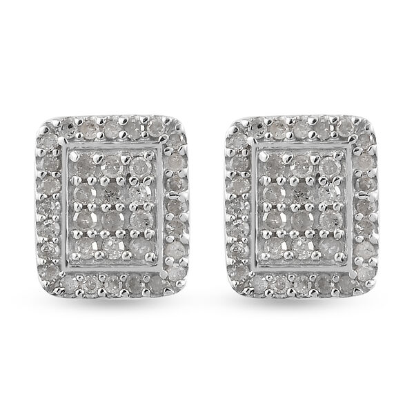 Diamond (Rnd) Stud Earrings (with Push Back) in Platinum Overlay Sterling Silver 0.51 Ct.