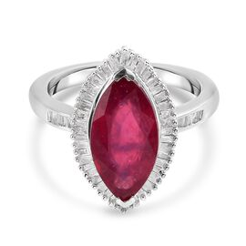 African Ruby (FF) Diamond Floral Ring in Platinum Overlay Sterling Silver 4.15 Ct