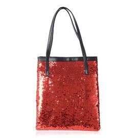 Red Colour Sequins Adorned Handbag (Size 36x31cm)