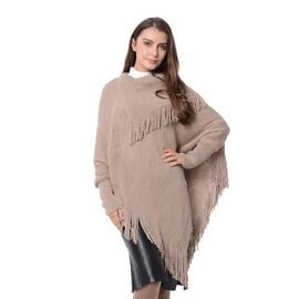 Mega Day Deal- Designer Inspired- Khaki Colour Triangular Collor Poncho with Tassels (Size 75x60 Cm)