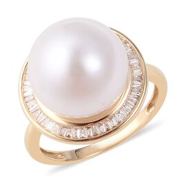 ILIANA Edison Pearl and Diamond Halo Ring in 18K Gold 3.53 Grams