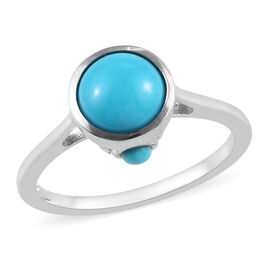 Arizona Sleeping Beauty Turquoise (Rnd) Ring in Platinum Overlay Sterling Silver 1.33 Ct.