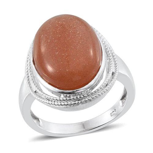 Morogoro Peach Sunstone (Ovl) Ring in Platinum Overlay Sterling Silver 13.000 Ct.