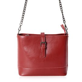 Close Out Deal 100% Genuine Leather Burgundy Colour Bag with External Zipper Pocket and Removable Sh