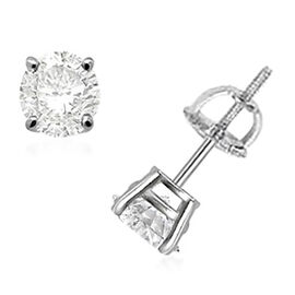14K White Gold Diamond (I1-I2/G-H) Solitaire Stud Earrings (with Push Back) 0.50 Ct.